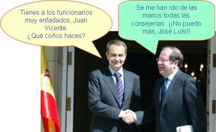 Rodriguez Zapatero regañando a Juan Vicente Herrera ante su dejadez