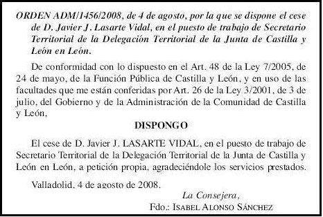 Dimisión de Javier J. LASARTE en el BOCyL