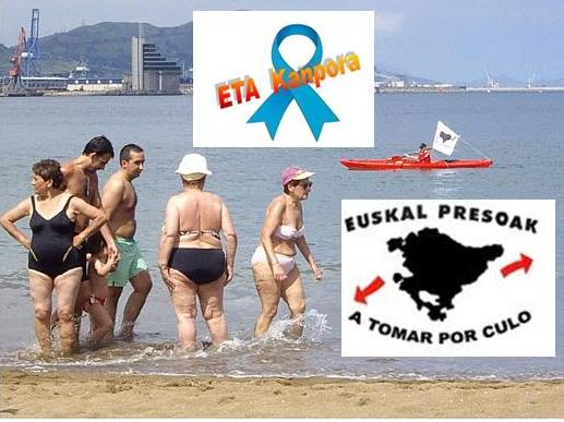 ¡¡Hasta en la playa pasean las pancartas sobre presos!!  Tanto Etxerat como Askatasuna desprecian a los presos, pero con su presunta, engañosa e inútil defensa se embolsan todos los años miles y miles de euros que proceen del Gobierno vasco y que van destinados a la defensa y mantenimiento de ETA.
