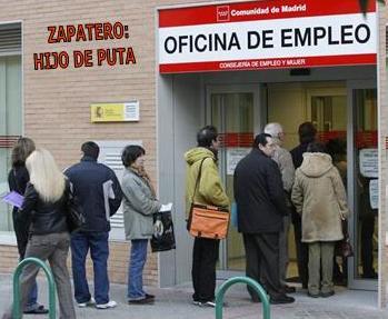 Alabanza a Rodríguez Zapatero en la puerta del INEM
