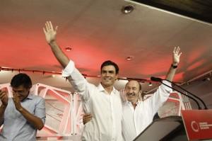 Rubalcaba junto al nuevo líder, Pedro Sánchez